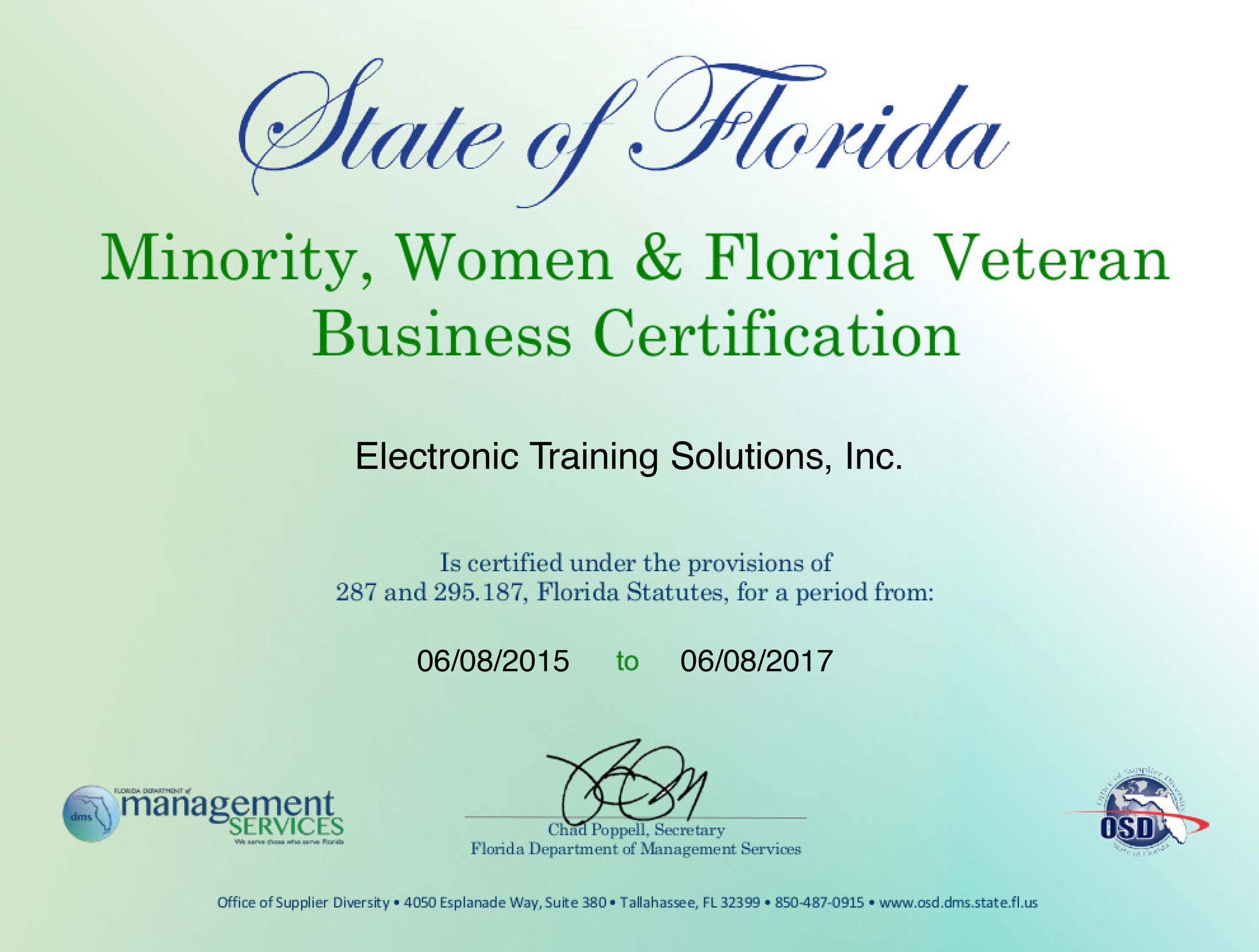 Fedlinks electronic training solutions inc cocoa fl 32923 ets osd mbe certificate xflitez Choice Image