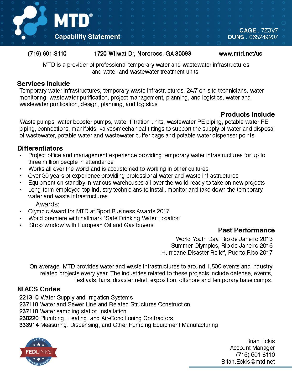 Mtd capability statement