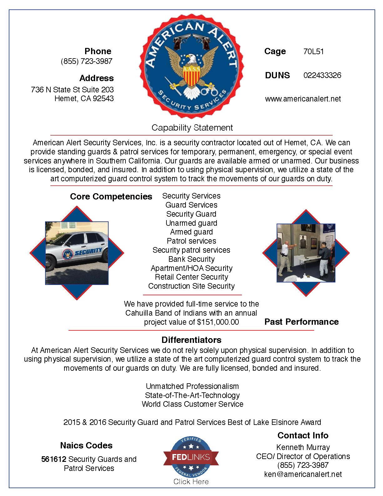 American alert security services  inc