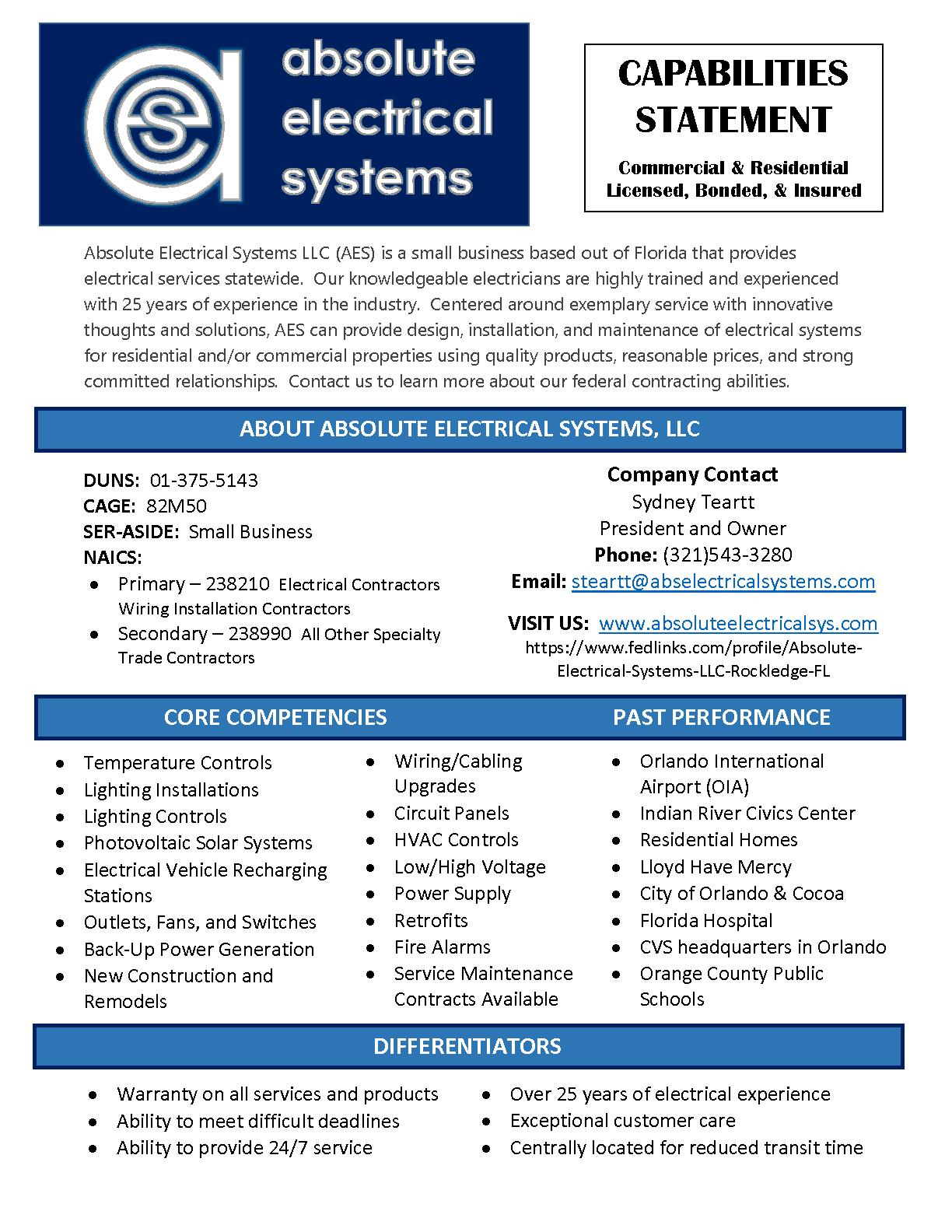 Absolute electrical systems llc capability statement