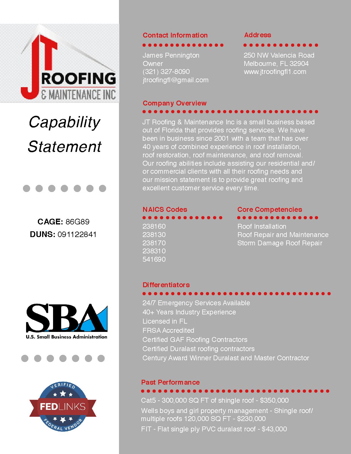 Jt roofing   maintenance inc
