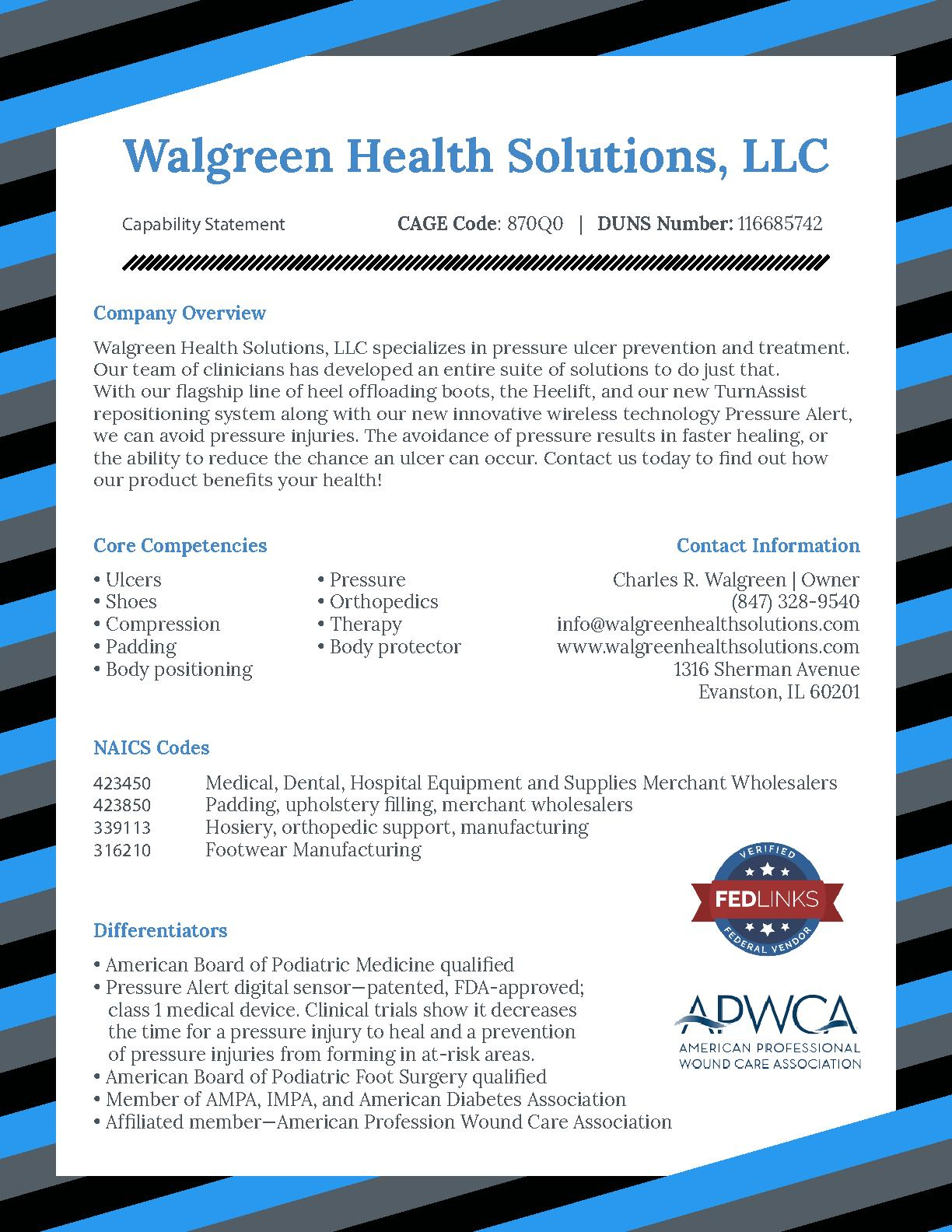 Walgreen health solutions capability statement