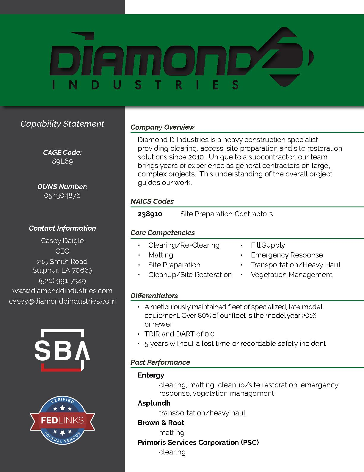 Diamonddindustries capabilitystatement