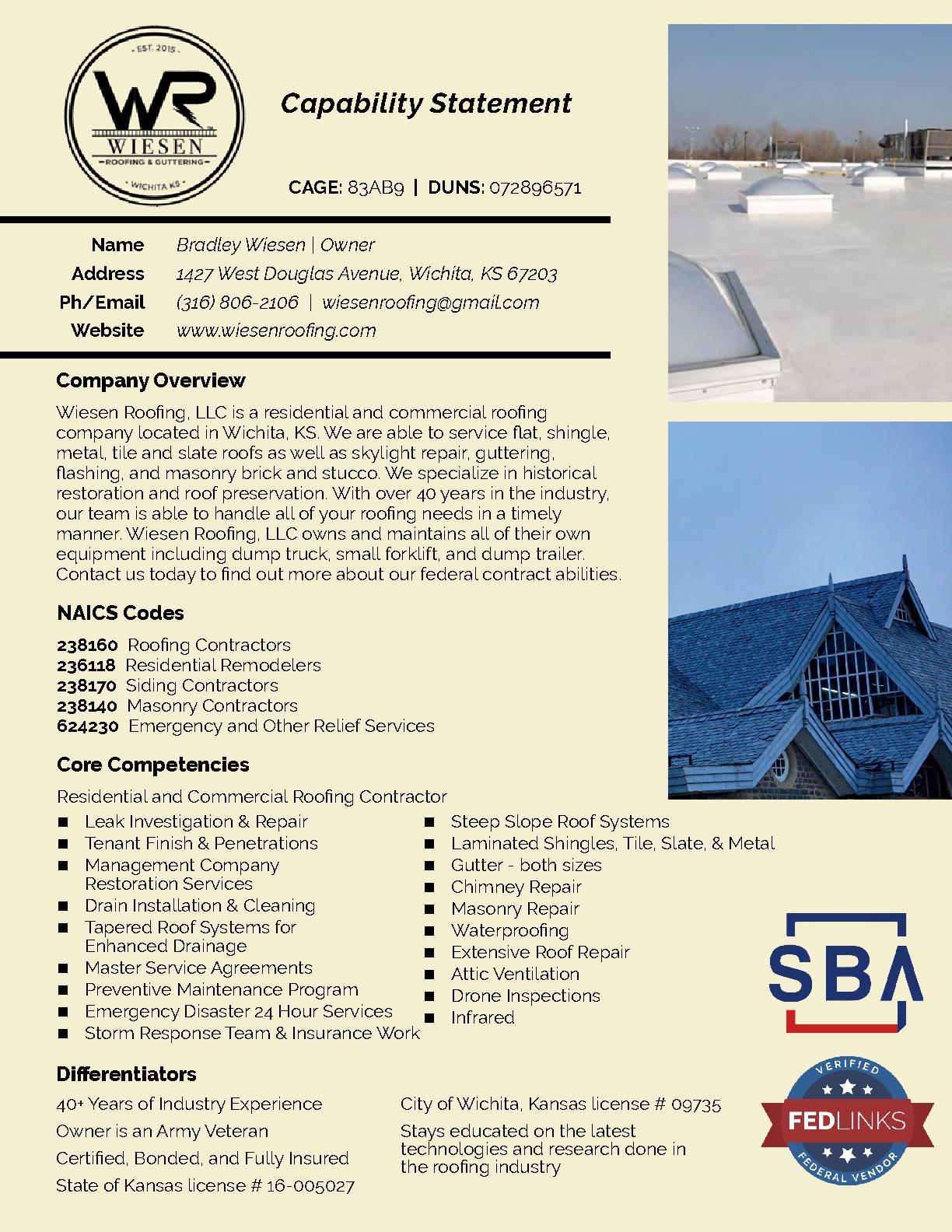 Wiesen roofing  llc
