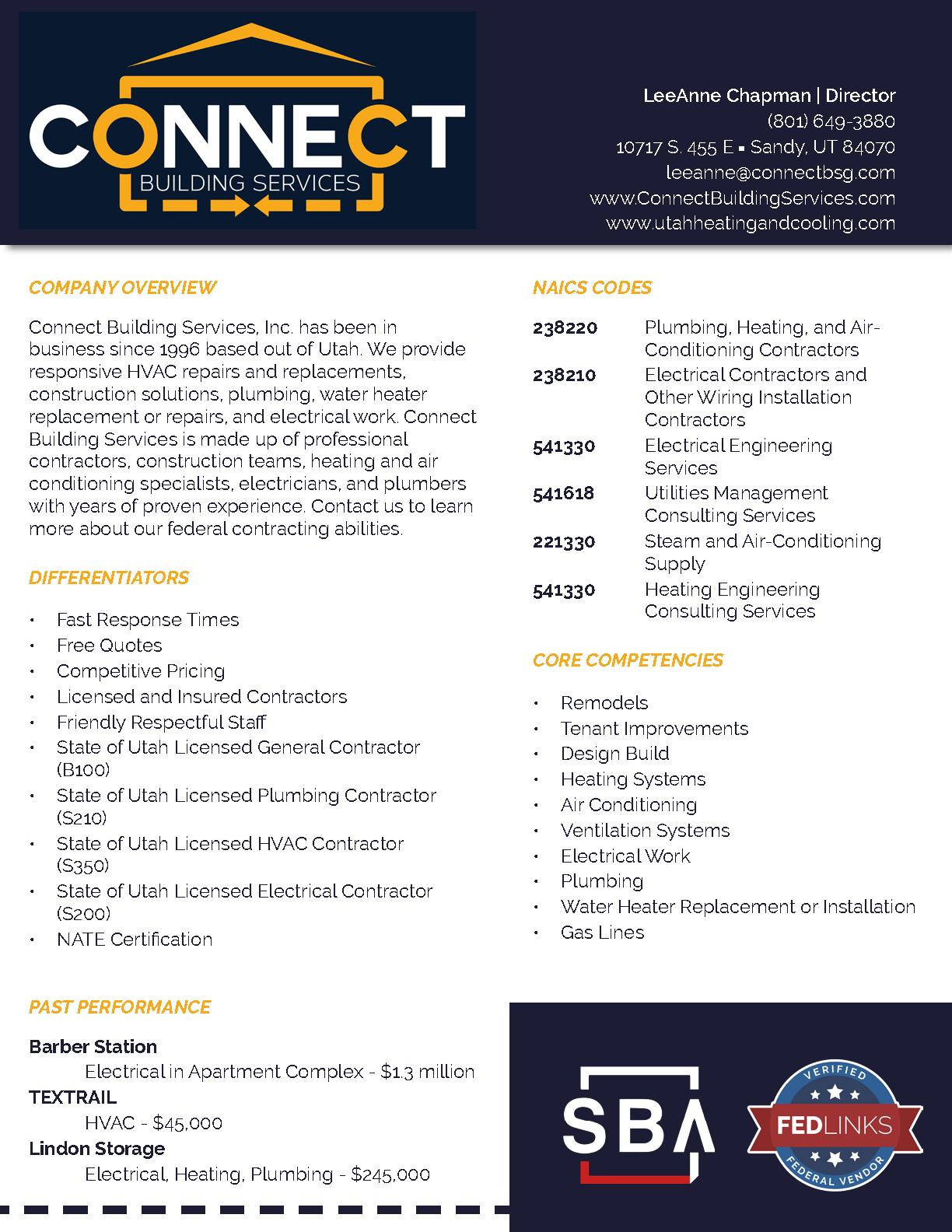 Connect building services   capability statement
