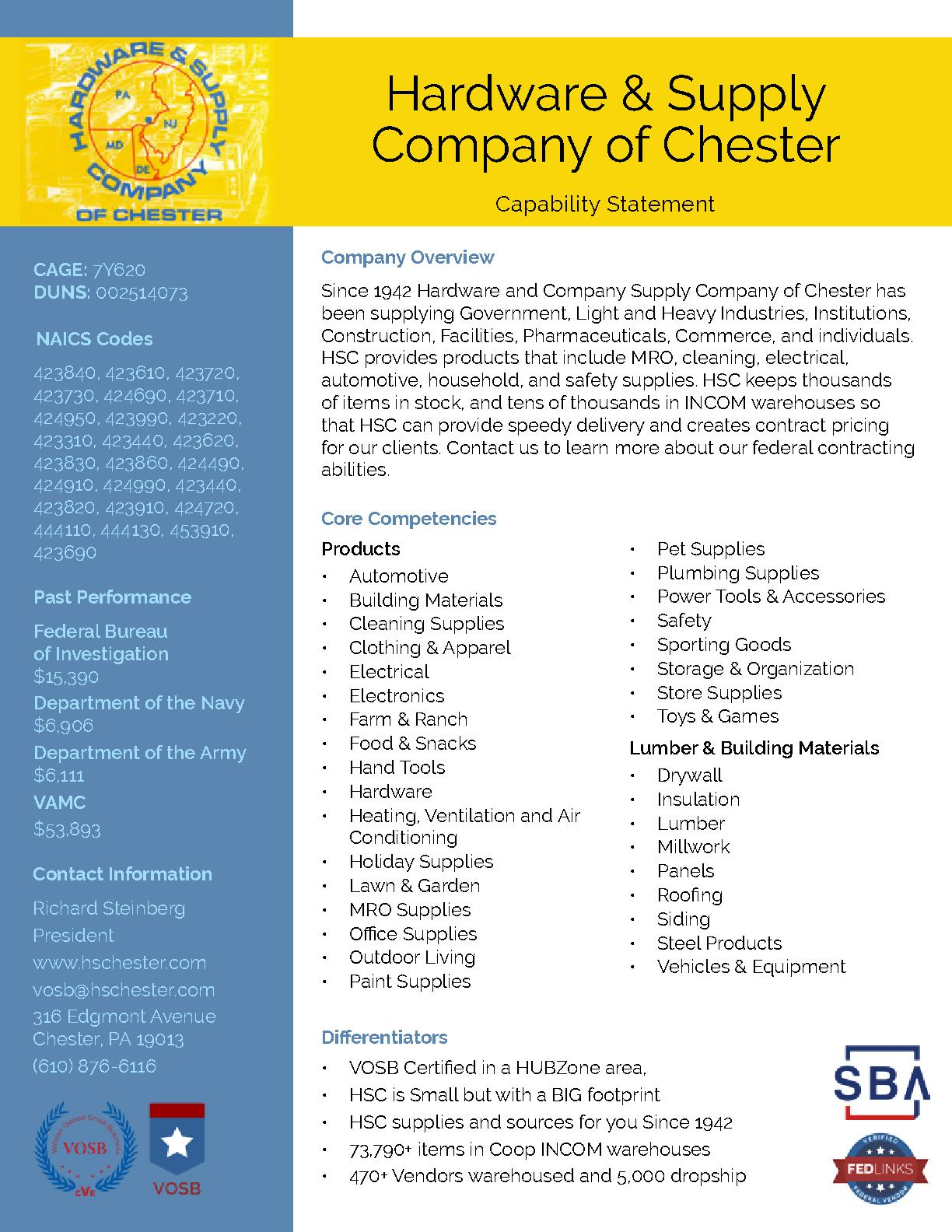 Hardware and supply company of chester capability statement
