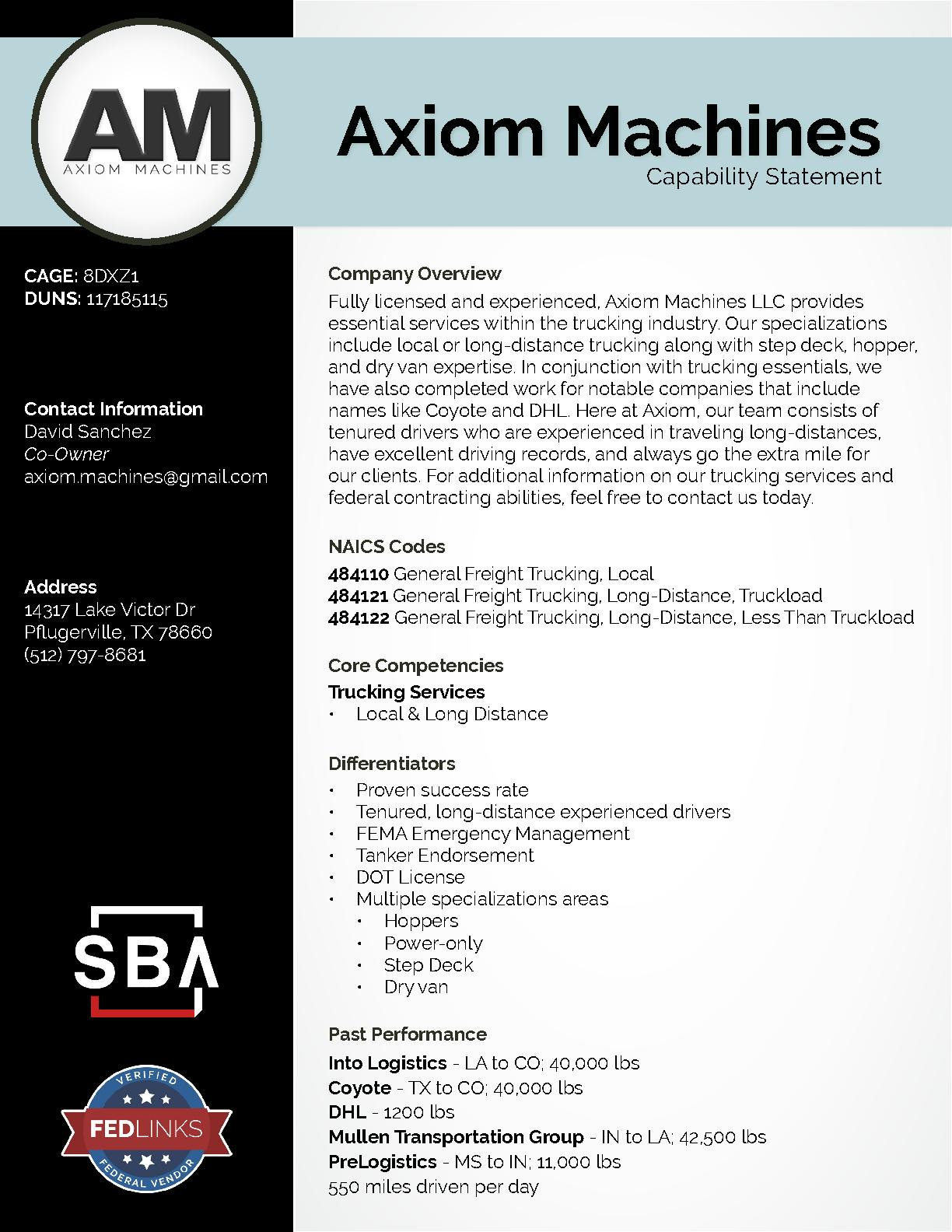 Axiom machines llc capability statement