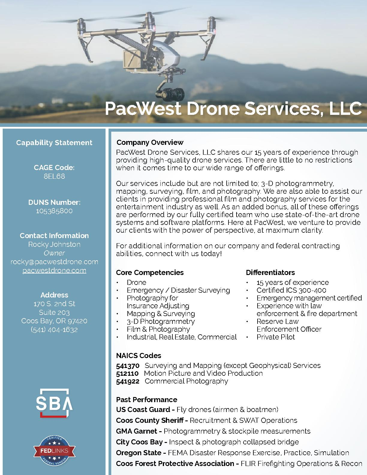Pacwest drone services llc capability statement