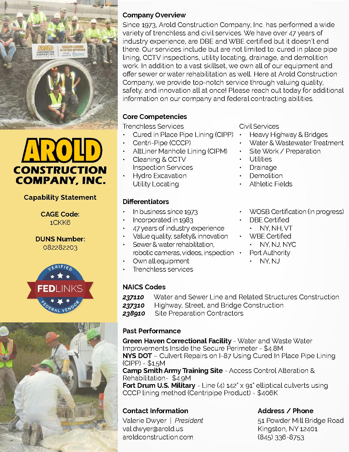 Arold construction company inc. capability statement
