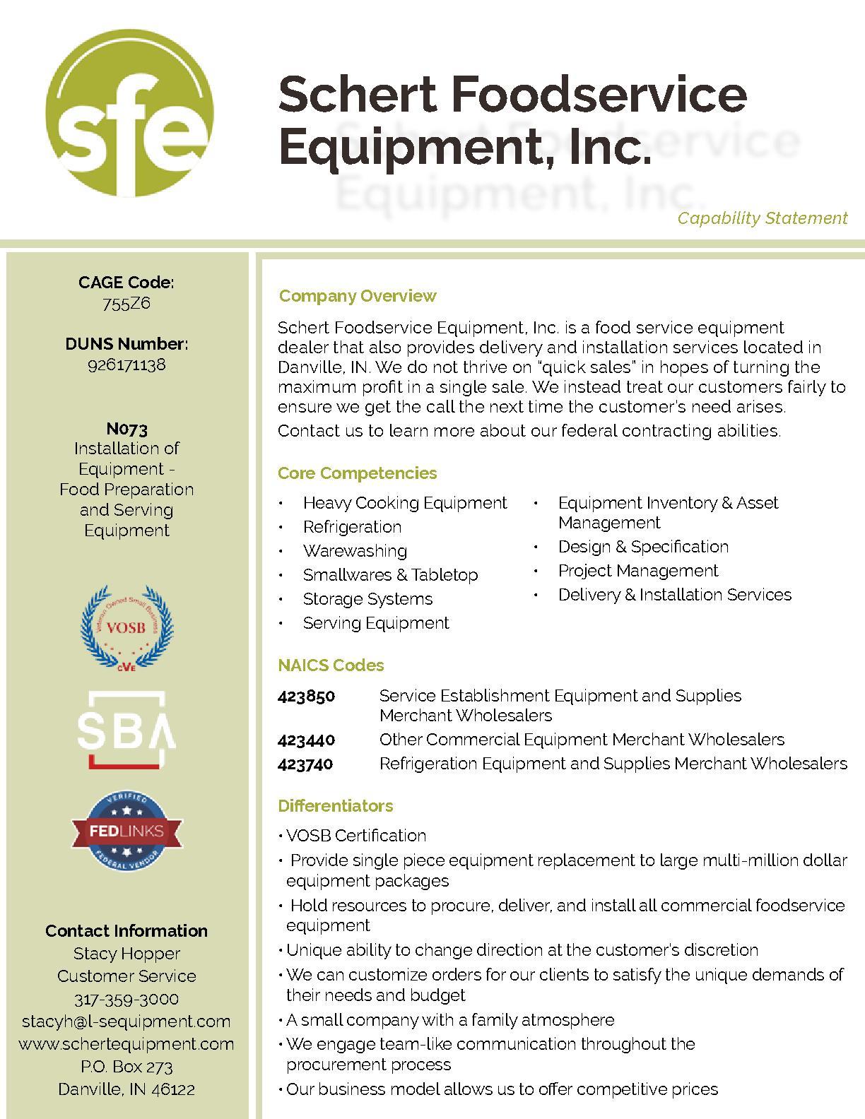 Schertfoodserviceequipment capabilitystatement