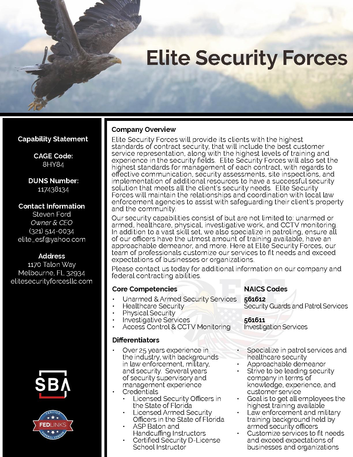 Elite security forces capability statement