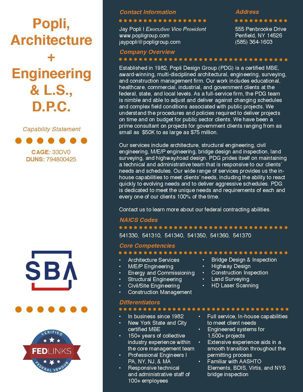 Popli architecture   engineering   l.s.  d.p.c. capability statement