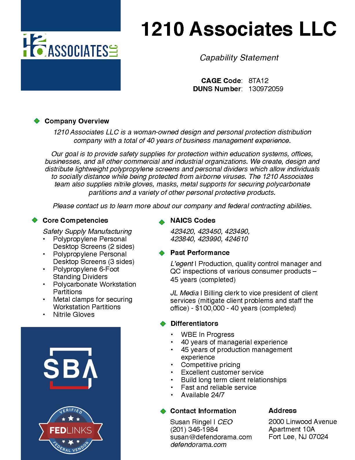 1210 associates llc capability statement