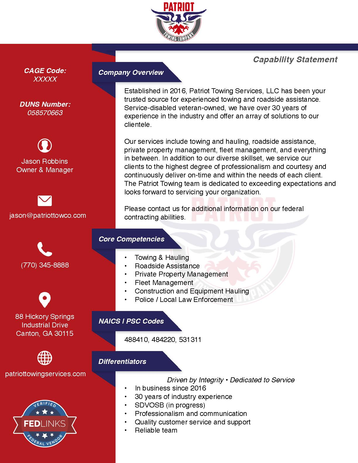 Patriot towing services llc capability statement