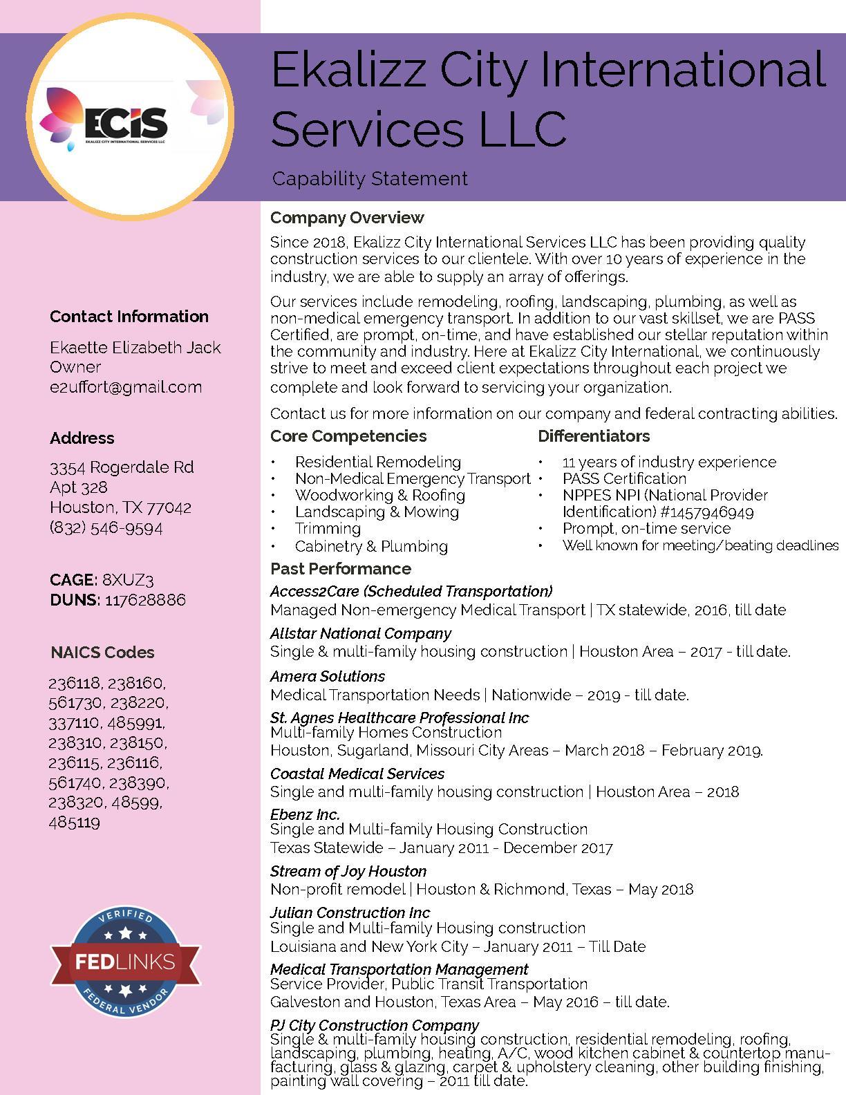 Ekalizz city international services llc capability statement
