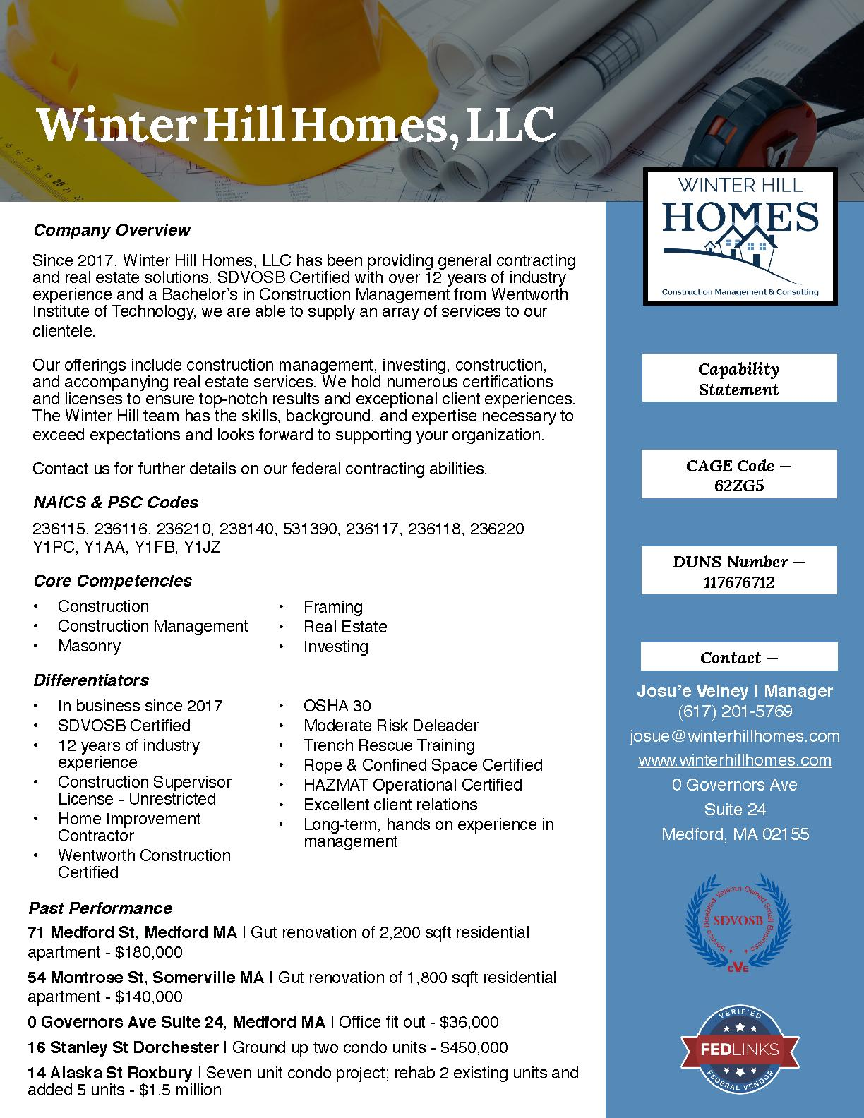Winter hill homes capability statement