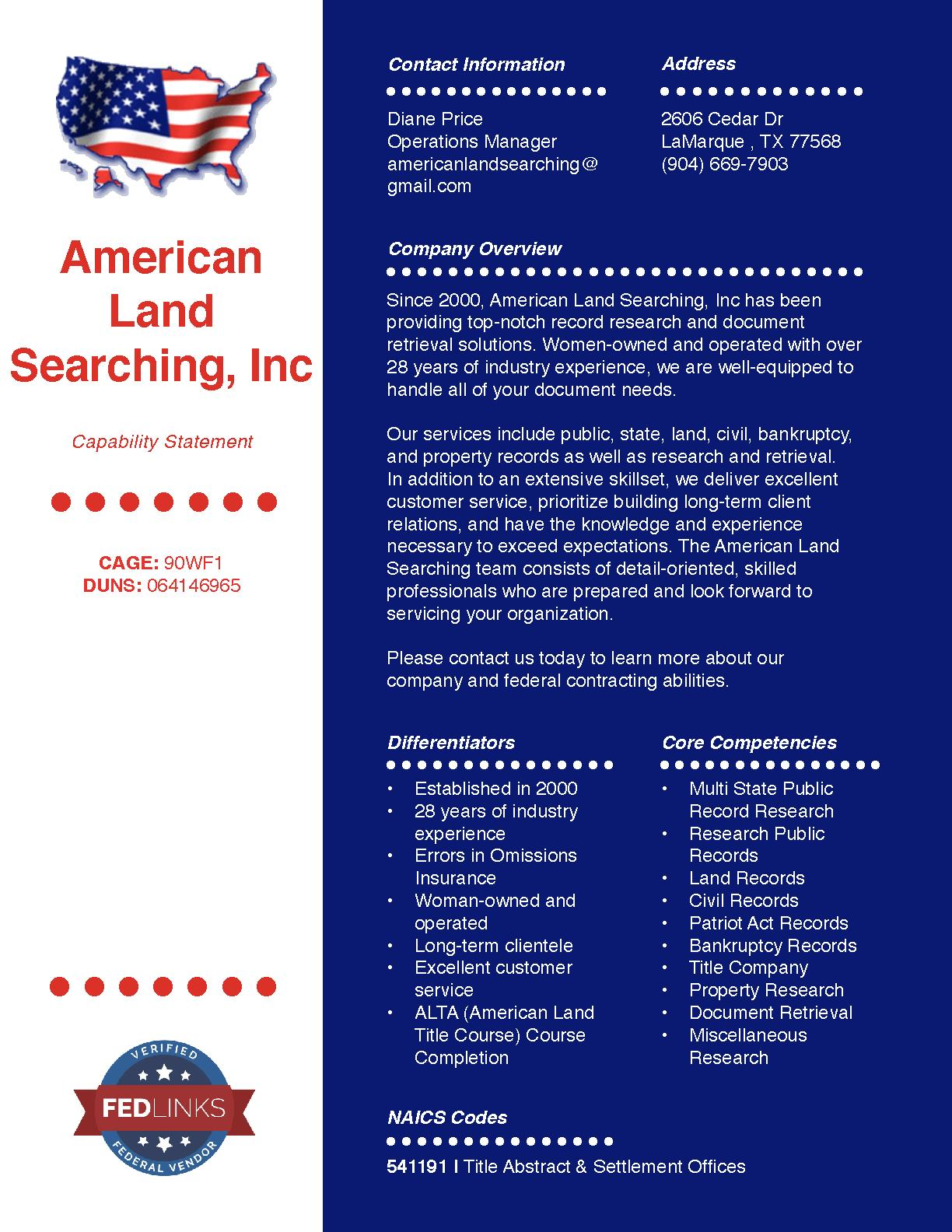 American land searching  inc capability statement